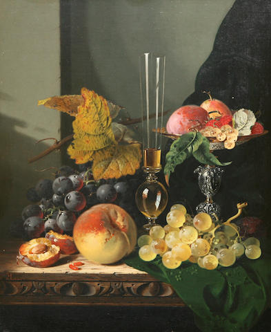 Edward Ladell (British, 1821-1886) Still life with mixed fruit, a glass and a tazza on a table
