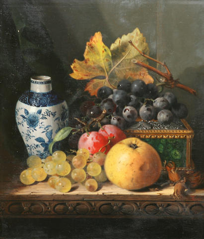 Edward Ladell (British, 1821-1886) Still life with fruit and walnuts; Still life with Chinese vase