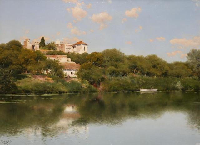 Emilio Sanchez Perrier (Spanish, 1855-1907) Tranquil river, Alcalá