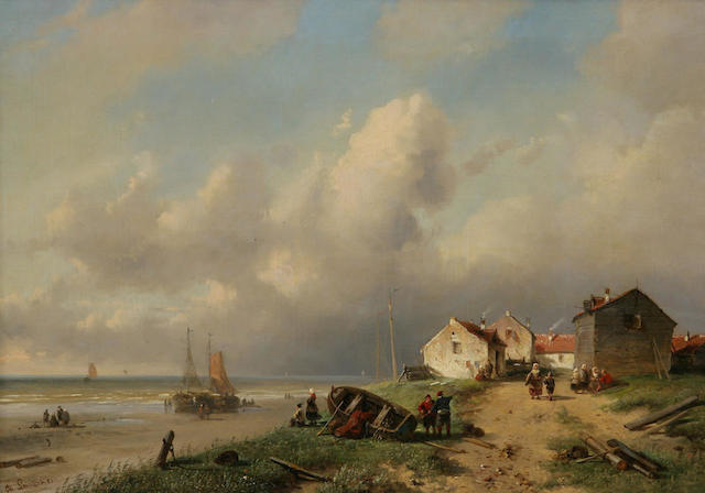 Charles Leickert (Dutch, 1816-1907) Coastal scene with fisherfolk