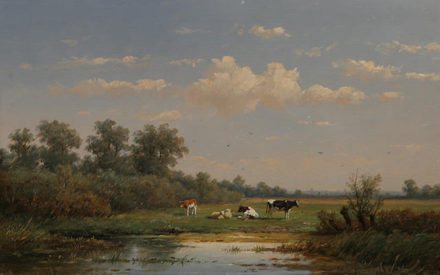 Anthonie Jacobus van Wyngaerdt (Dutch, 1808-1887) A Dutch pasturage with cattle