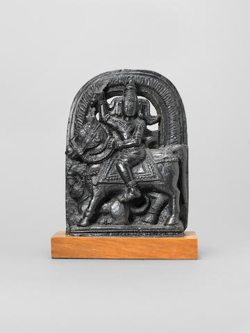 A black stone sculpture depicting a horseman TO BE CONFIRMED AFTER FURTHER RESEARCH Deccan, 16th Century