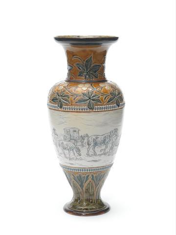 Hannah Barlow for Doulton Lambeth A Vase with Animals and Caravan, 1888