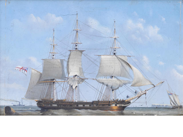 John Ward of Hull (British, 1798-1849) 'Corvette, 28 guns'