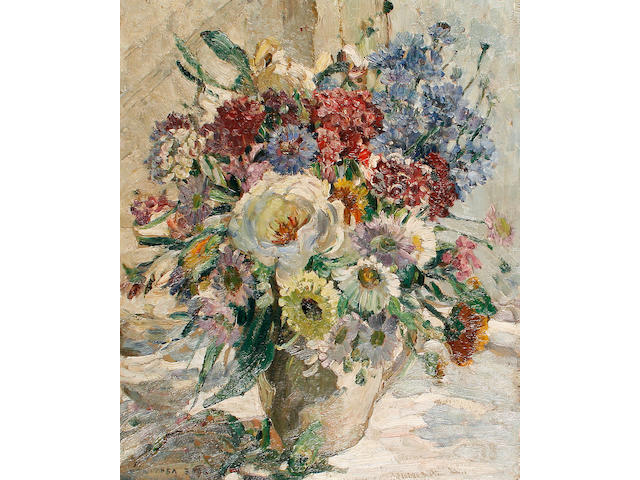 Dorothea Sharp (British, 1874-1955) Still life of mixed flowers in a white jug
