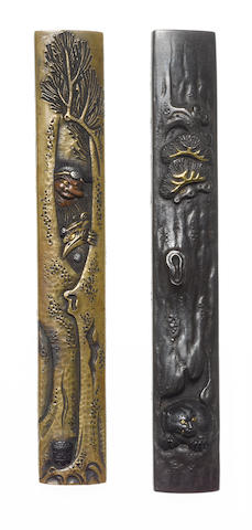Two kozuka of shibuichi and brass Hamano School, 19th century