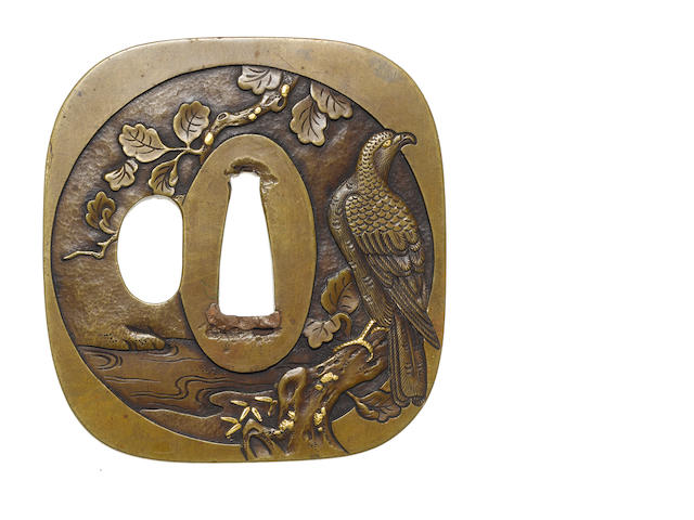A brass tsuba Nara School, 18th century
