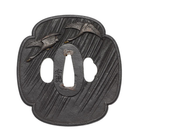 A large iron tsuba Nara School, 19th century