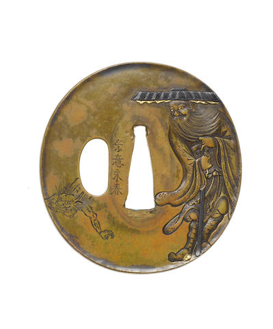 A brass tsuba Nara School, late 18th/early 19th century