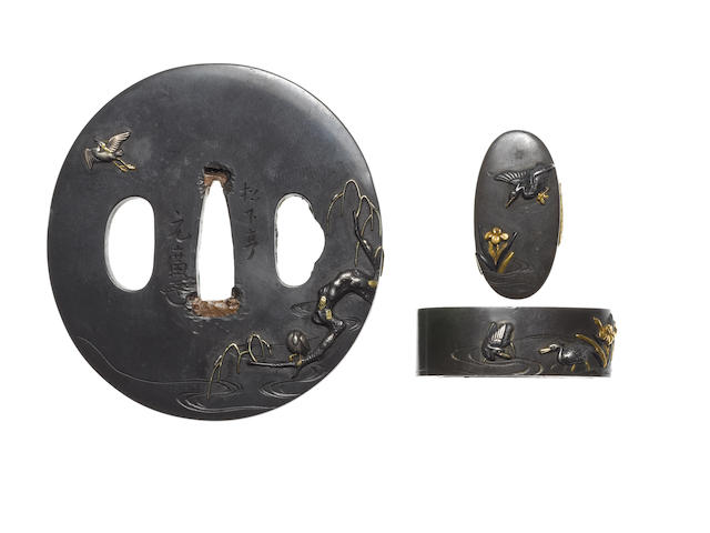 A shibuichi tsuba and fuchi-gashira Otsuki School, late 18th/early 19th century