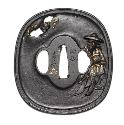 An iron tsuba Tanaka School, 19th century