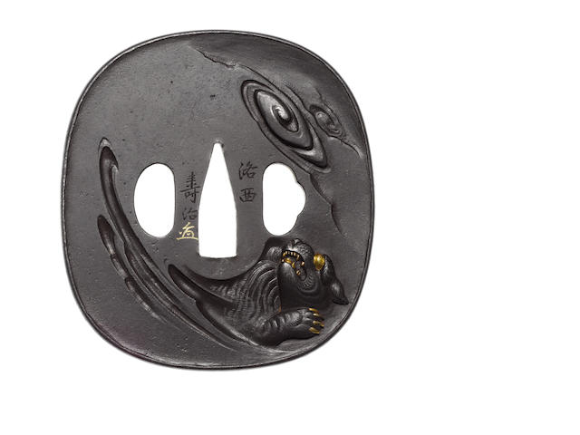 A large iron tsuba Tanaka School, 19th century