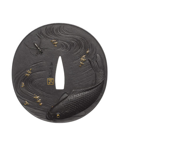 A large iron tsuba Haruaki School, 19th century