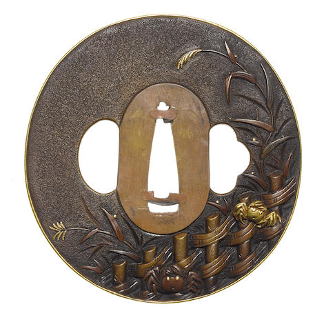 An unusual copper tsuba Otsuki School, 19th century