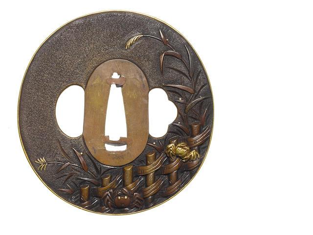 An unusual copper tsuba Otsuki School, 19th century