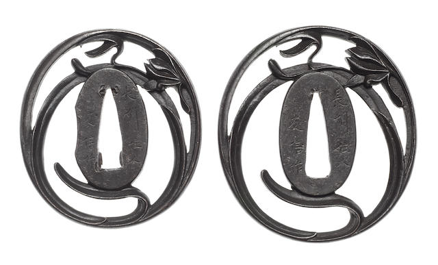 A pair of iron tsuba for a daisho By Tomonobu, Choshu School, early 19th century