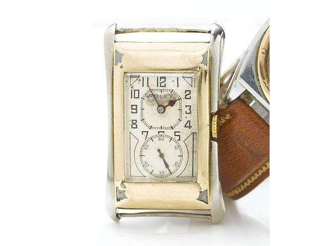 Rolex. A 9ct two colour gold manual wind wristwatchPrince, Ref. 971, Case No. 68875, Hallmarked Glasgow Import 1924