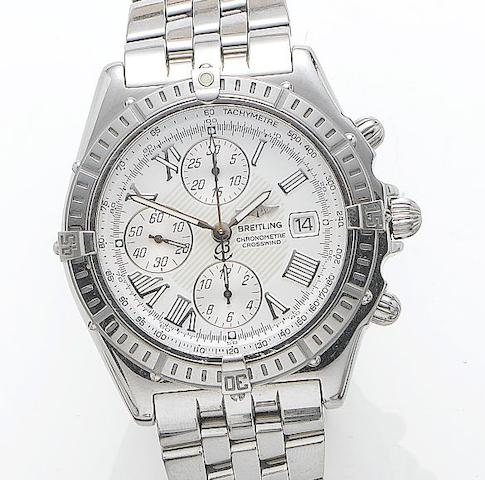 Breitling. A stainless steel automatic chronograph wristwatch Crosswind, Reference A13355, Case Number 443994, Recent