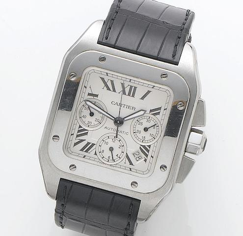Cartier. A stainless steel automatic chronograph wristwatchSantos 100, Reference 2740, Case Number 845949CE, Recent