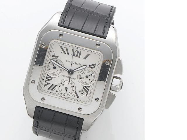 Cartier. A stainless steel automatic chronograph wristwatch Santos 100, Reference 2740, Case Number 845949CE