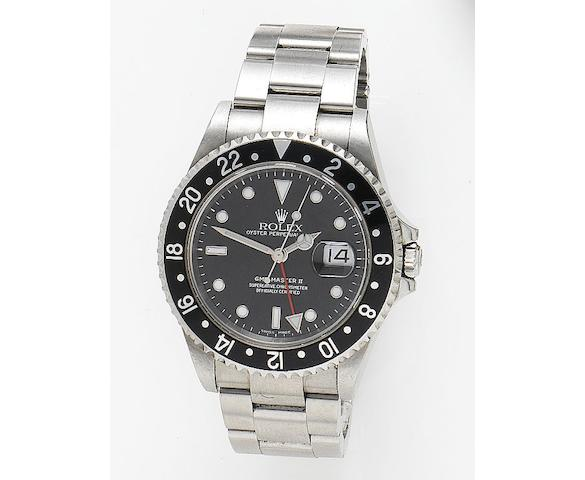 Rolex. A stainless steel automatic dual time zone wristwatch GMT-Master II, Reference 16710, Case Number F767252, Circa 2003
