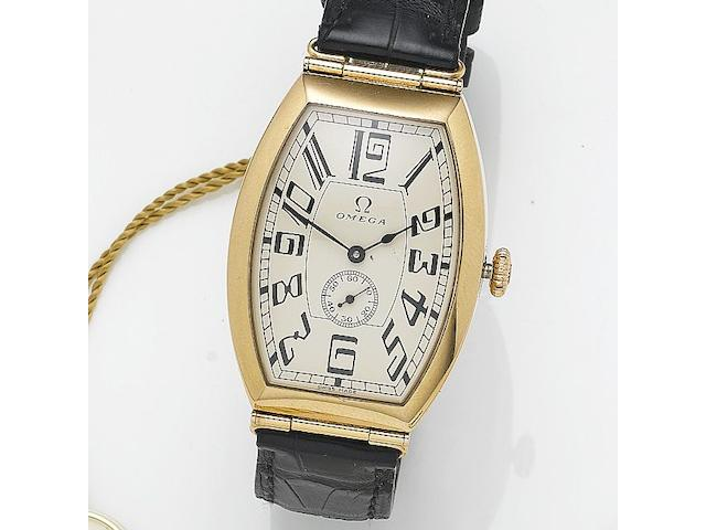 Omega. A 18ct rose gold automatic tonneau shaped wristwatch Petrograd, Serial No. 80,700,617, Number 761/1915, Sold 28th December 2004