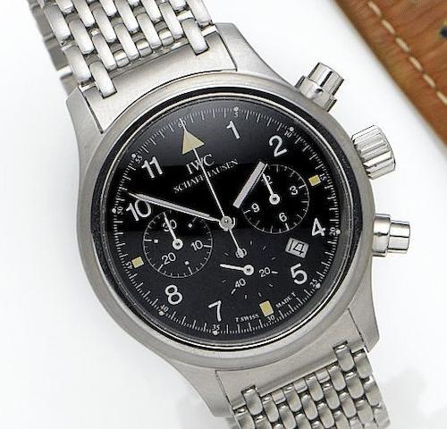 IWC. A fine stainless steel quartz chronograph calendar bracelet watchRef.3741, Movement No. 2520418, Recent