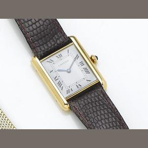 Cartier. An 18ct gold manual wind wristwatch Tank, Case Number 780868098, Circa 1980