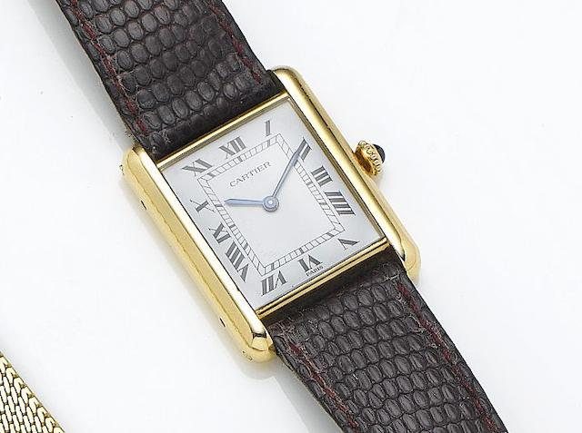 Cartier. An 18ct gold manual wind wristwatchTank, Case Number 780868098, Circa 1980