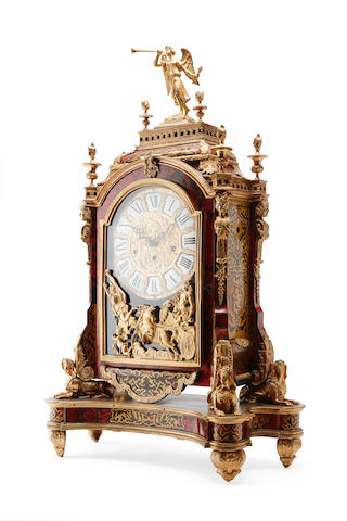 An impressive French 18th century style red tortoiseshell and boulle bracket clock
