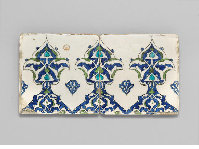 Two Damascus underglaze painted pottery Tiles Syria, 16th Century(2)