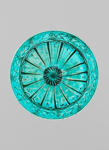 A Kubachi underglaze-painted pottery Dish Persia, 17th Century