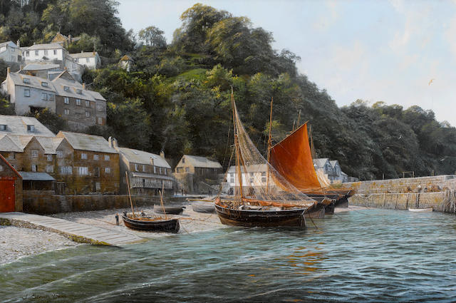 John Steven Dews (British, born 1949) The herring fleet at Clovelly, north Devon
