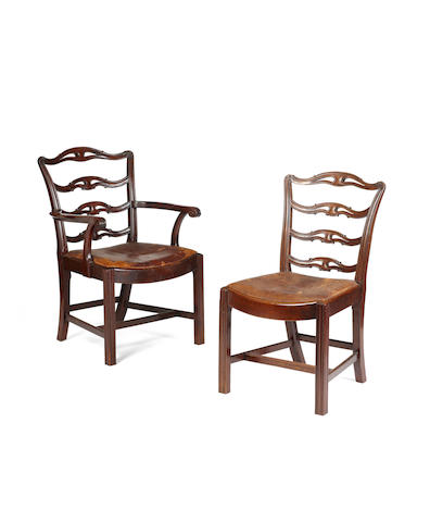 A set of eight Edwardian mahogany ladder back dining chairs in the George III style