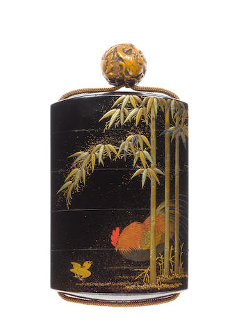 A roiro lacquer four-case inro By Kajikawa Kanko Bunryusai, 18th century