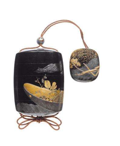 A roiro lacquer four-case inro By Shibata Zeshin (1807-1891), Meiji Period