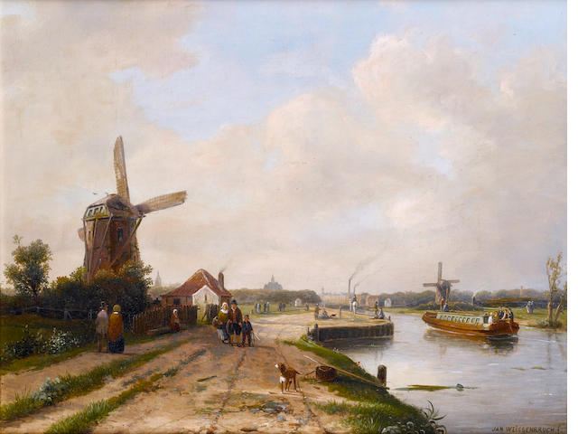 Jan Weissenbruch (Dutch, 1824-1880) Haarlem with Saint Bavo Cathedral in the background