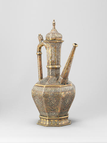 A large Mamluk revival silver and copper inlaid bronze Ewer Egypt or Syria, circa 19th-20th Century