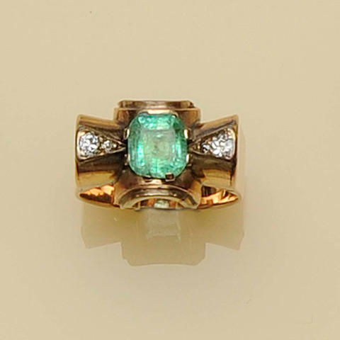 An emerald and diamond cocktail ring, circa 1930s