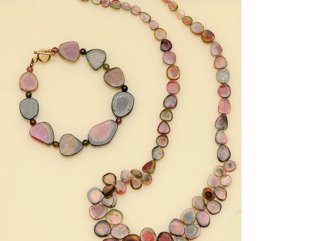 A watermelon tourmaline necklace and bracelet suite