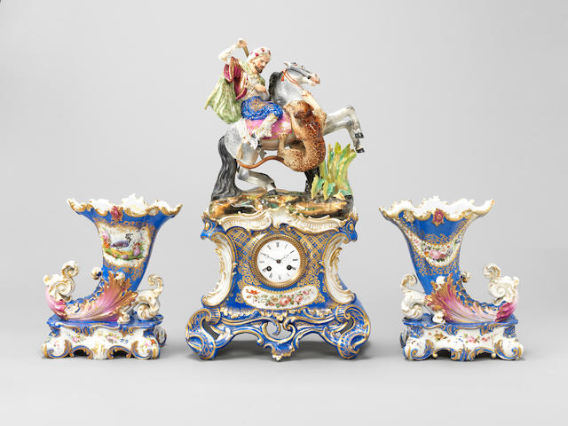 A Jacob Petit pottery Clock with Sultan