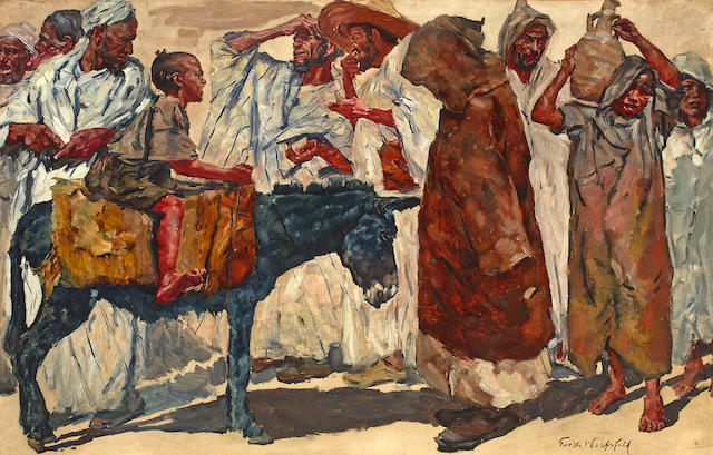 "(n/a) Erich Wolfsfeld (German, 1884-1956) ""I want to go to the souk too, abi!"""