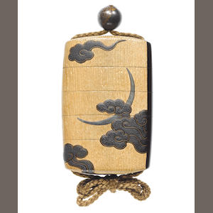 A four-case inro of lacquer and wood, lacquered with moon amid clouds, maple leaves in rain 19th century