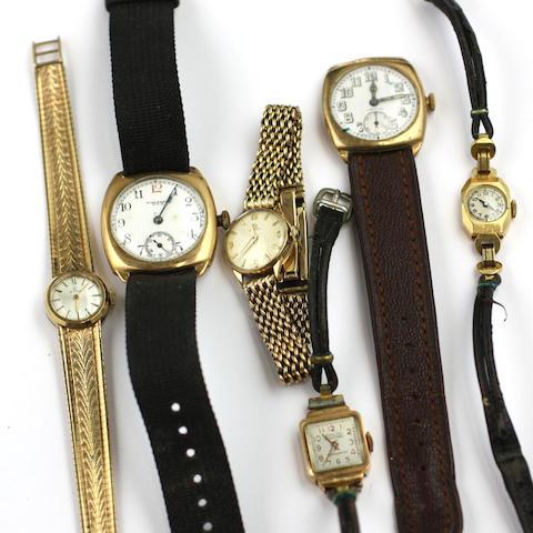 Six wristwatches,