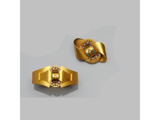 A Victorian gem set bangle and brooch suite