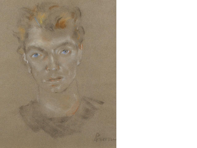 20th Century School Portrait of a young man with blue eyes
