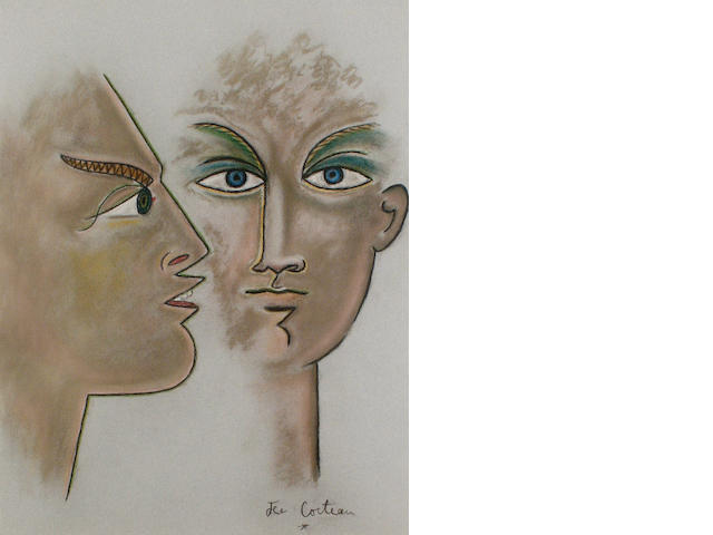 Jean Cocteau (French, 1889-1963) Two heads