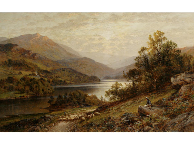 Alfred Augustus Glendening (British, 1840-1921) A river landscape with a shepherd and his flock in the foreground 51 x 82cm (20 x 32 1/4in)