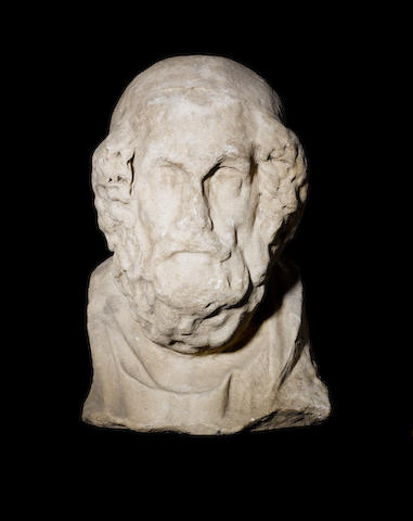 A Roman marble head of Homer