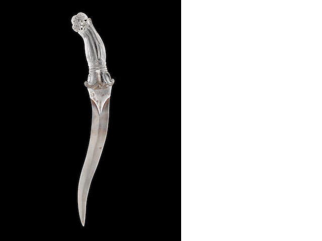 A rock-crystal hilted steel Dagger India, 19th Century